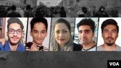 از راست: ناصر رضایی، پویا بختیاری، آمنه شهبازی، محمد داستانخواه و آرشام ابراهیمی؛ همگی از کشتههای اعتراضات آبان سال گذشته.