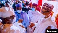 Shugaba Buhari, Goodluck Jonathan, Atiku Abubakar a lokacin daurin auren Yusuf Buhari da Zahra (Facebook/Femi Adesina)