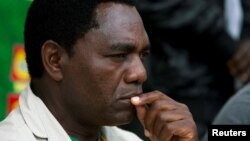 FILE - United Party for National Development (UPND) Presidential candidate Hakainde Hichilema looks on during a rally in Lusaka, Jan. 18, 2015.