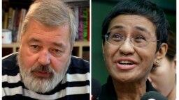 ماریا رسا (راست) و دمیتری موراتوف، برندگان جایزه صلح نوبل