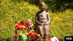 南加州格林代尔市的慰安妇像(美国之音国符拍摄)