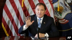 FILE - Utah Gov. Gary Herbert speaks to reporters during a news conference at the Utah State Capitol, in Salt Lake City, Feb. 5, 2015.