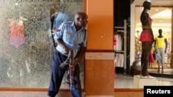 Umupolisi yarikko aragerageza gucungera umutekano mu kibanza kirimwo imanganzine nyinshi bita Westgate Shopping Center, aho abantu bitwaje ibigwanisho, bariko bararasa abantu i Nairobi kw'igenekerezo rya 2 ry'ukwezi kw'icenda , umwaka w'i 2013.