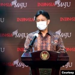 Menkes Budi Gunadi Sadikin dalam telekonferensi pers di Istana Kepresidenan , Jakarta, Kamis (4/2) meminta perayaan imlek dirayakan secara virtual. (Biro Setpres).