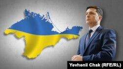 Президент Украины Владимир Зеленский на фоне карты Крыма.
