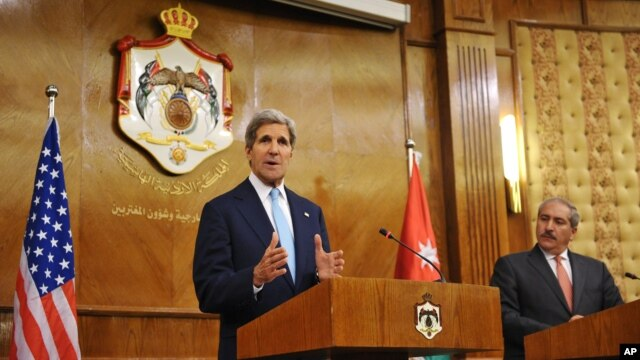 U.S. Secretary of State John Kerry speaks during a joint press conference with Jordan's Foreign Minister Nasser Judeh at the Ministry of Foreign Affairs in the Jordanian capital, Amman, July 17, 2013.
