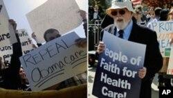聯邦最高法院外反對與支持醫保法案的示威者
