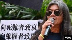1012-社民連前立法會議員梁國雄。(美國之音湯惠芸)