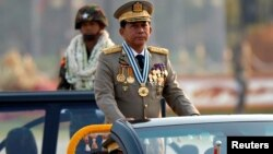 Panglima militer Myanmar, Jenderal Min Aung Hlaing dalam acara parade kemerdekaan di Naypyitaw, Myanmar (foto: dok).
