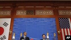 奧巴馬在首爾與南韓總統李明博舉行聯合記者會