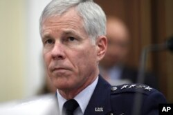 FILE - Gen. William Shelton, Commander, U.S. Air Force Space Command, testifies on Capitol Hill, Sept. 15, 2011.