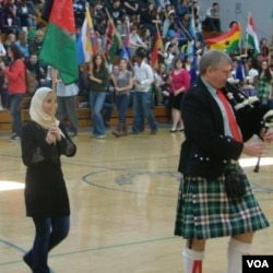 Farima represents Afghanistan at a school event
