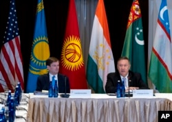 U.S. Secretary of State Mike Pompeo, right, meets with Central Asian (C5) foreign ministers from Kazakhstan, Uzbekistan, Tajikistan, Kyrgyzstan, and Turkmenistan, Sunday, Sept. 22, 2019, in New York (AP)