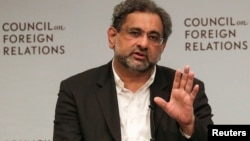 Pakistani Prime Minister Shahid Khaqan Abbasi answers a question during the panel discussion with the Council on Foreign Relations in Manhattan, New York, Sept, 20, 2017.