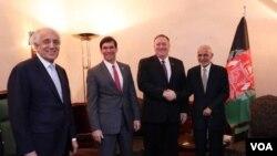 میونخ میں امریکی عہدے داروں اور افغان صدر کے درمیان ملاقات کا ایک منظر۔ 14 فروری 2020