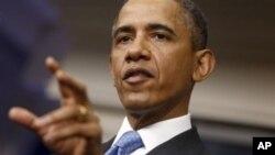 Tổng thống Obama trong cuộc họp báo tại Tòa Bạch Ốc ngày 30/4/2013. Ông nói cần thêm thông tin thực tiễn về vũ khí hóa học ở Syria.
