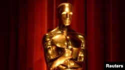 FILE - An Oscar statue is seen during the nominations announcements for the 88th Academy Awards in Beverly Hills, California, Jan. 14, 2016.