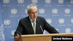 스테판 두자릭 유엔 사무총장 대변인. 두자릭 대변인은 22일 정례브리핑에서 북한의 최근 탄도미사일 발사는 유엔 안보리 결의를 공개적으로 위반한 것이라고 비판했다.
