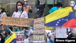 Conjunto de imágenes de protesta del personal del sector de la salud en Venezuela frente a la sede de la ONU en Caracas, exigiendo mejoras laborales. Foto Álvaro Algarra.