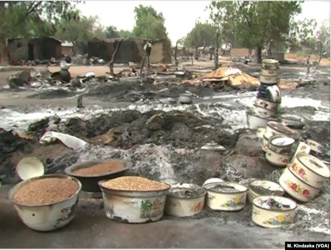 Torched Tchakarmari village. Tchakarmari, Cameroon, Apr, 20, 2019.
