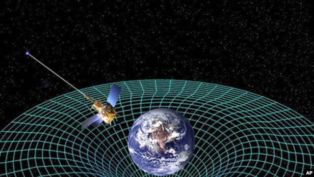 Artist concept of Gravity Probe B orbiting the Earth to measure space-time, a four-dimensional description of the universe including height, width, length, and time.