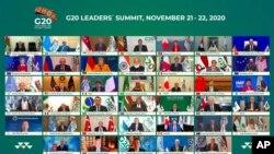 Arhiva - Grupna fotografija na kojoj se vidi saudijski kralj Salman, u sredini, i drugi svetski lideri tokom onlajn videokonferencije čiji je domaćin Saudijska Arabija, tokom pandemije Kovida 19, u Rijadu, Saudijska Arabija, 21. novembra 2020.