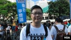 佔中發起人陳健民表示,北京最近公佈香港一國兩制白皮書,可能激發更多港人參與佔中全民投票 (美國之音湯惠芸拍攝)