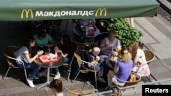 Patrons are gathered at a McDonald's restaurant in central Moscow, June 30, 2016.