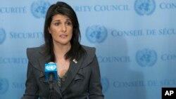 니키 헤일리 유엔 주재 미국대사가 2일 미국 뉴욕 유엔본부에서 신년 회견을 하고 있다.