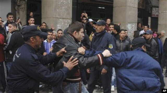 Riot police officers detain a protester during a demonstration in Algiers, February 19, 2011