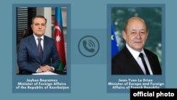 Azərbaycan xarici işlər naziri Ceyhun Bayramov və Fransanın xarici işlər naziri Jan İv Lö Drian