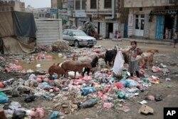 FILE - A girl scavenges at a garbage dump in a street in Sanaa, Yemen, July 26, 2017.