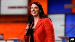 FILE-- Ronna Romney McDaniel, the Michigan Republican Party chair, speaks before a Republican presidential primary debate in Detroit, March 3, 2016