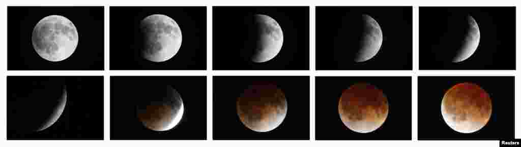 A combination photo shows the moon during a total lunar eclipse as seen from Mexico City.