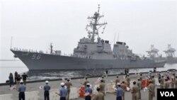 Angkatan Laut Korea Selatan saat melakukan latihan bersama dengan AL Amerika.