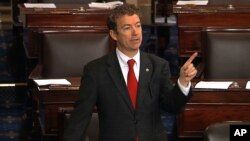 This video frame grab provided by Senate Television shows Sen. Rand Paul speaking on the floor of the Senate on Capitol Hill in Washington, Wednesday, March 6, 2013.
