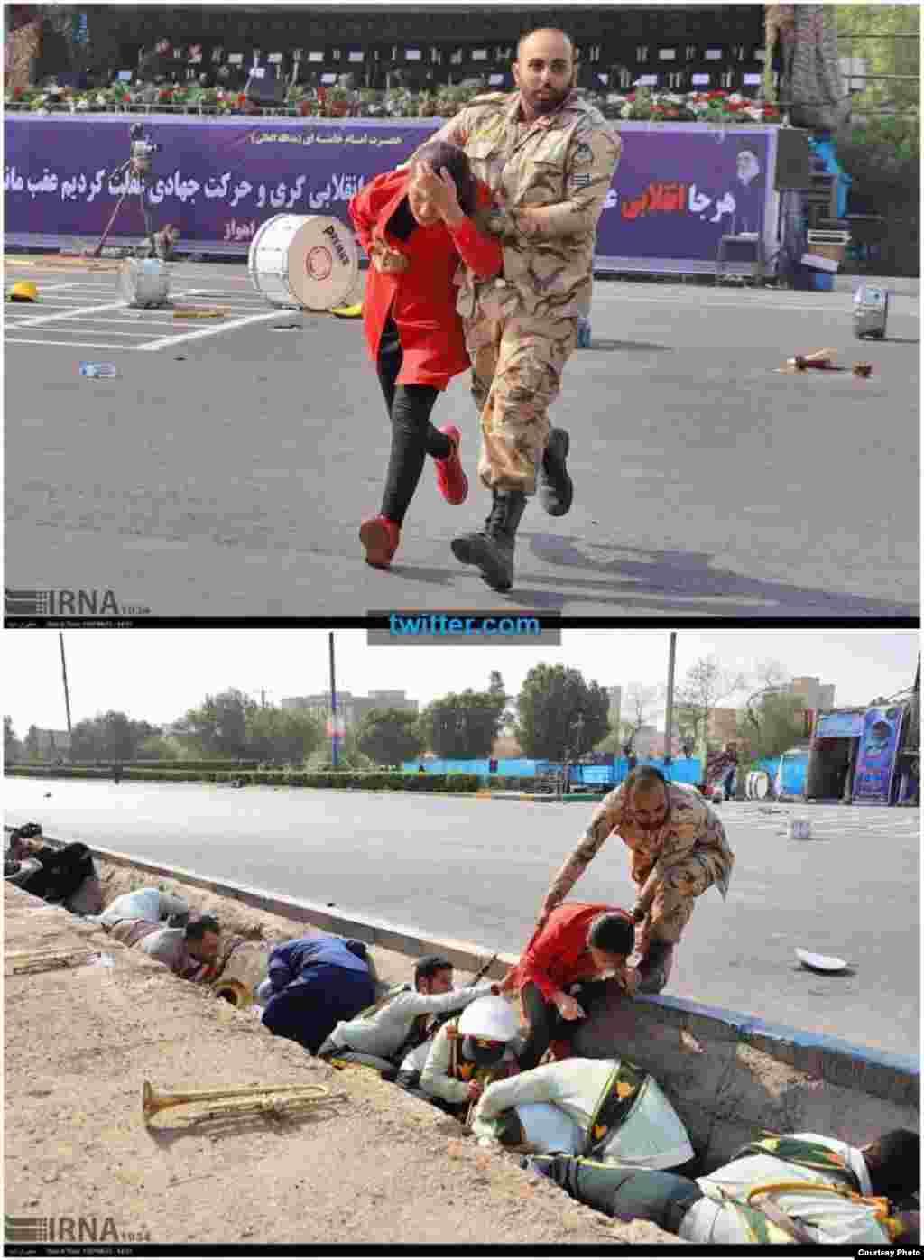 نیروهای امنیتی ایران در حال کمک به شهروندان آن کشور که در مراسم رسم گذشت اشتراک کرده بودند