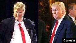 Nữ diễn viên Meryl Streep đóng giả làm ông Donald Trump (trái) và hình ảnh thật của Tổng thống Mỹ.