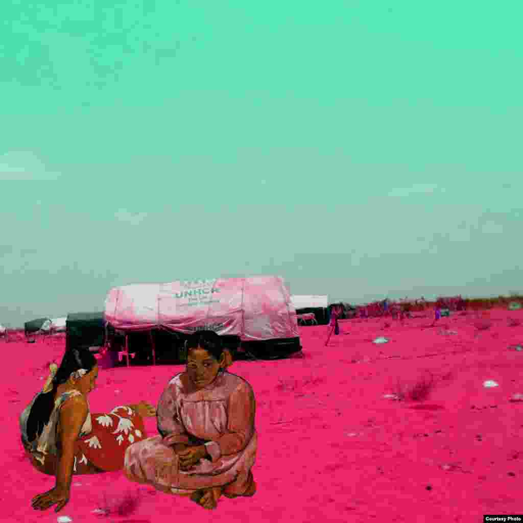 Paul Gauguin's 1891 Tahitian Woman on a Beach contemplate the tents of Zaatari, a refugee camp near Mafraq, Jordan housing more than 168,000 Syria war refugees. By Tammam Azzam.