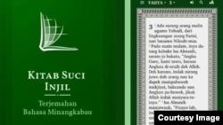Aplikasi Alkitab bahasa Minang. (foto: tangkapan layar)