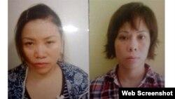 Ảnh hai phụ nữ Trang và Nguyệt (trái) bị bắt vì buôn bán trẻ em.