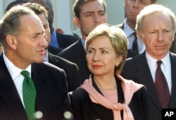 Members of New York's Congressional delegation and other lawmakers speak to reporters after meeting with President Bush at the White House in Washington, Sept. 13, 2001.