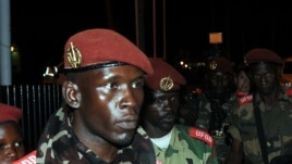 Soldiers from CAR's Seleka rebel group arrive at the airport ahead of planned peace talks with the CAR's government, Libreville, Gabon, Jan. 7, 2013.