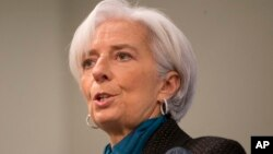 FILE - International Monetary Fund (IMF) Managing Director Christine Lagarde speaks at the Council on Foreign Relations in Washington.