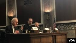 理查森上將2019年4月9日出席參議院軍事委員會舉行的聽證會(美國之音黎堡)