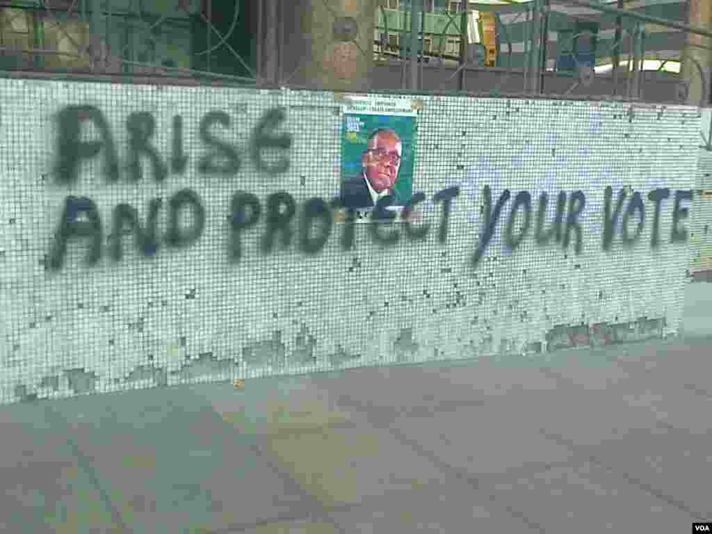A graffito found on Harare streets Tuesday morning.