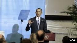 Presiden Obama memberikan pidato pada pertemuan kontak group Libya di PBB hari Selasa (20/9).