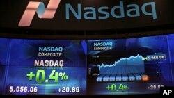 Dữ liệu được hiển thị trên màn hình tại sàn Giao dịch Chứng khoán Điện tử Nasdaq ở New York ngày 23/04/2015.