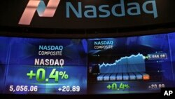 FILE - Market data is displayed on the screens at the Nasdaq MarketSite in New York, April 23, 2015.