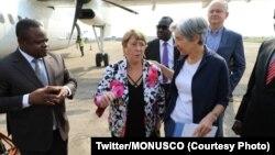 Haut-Commissaire ya Nations unies mpo na makoki ya bomoto, mwana mboka Chili Michelle Bachelet (2e G) ma bokomi bwa ye na Bunia, na Ituri, 23 janvier 2020. (Twitter/MONUSCO)